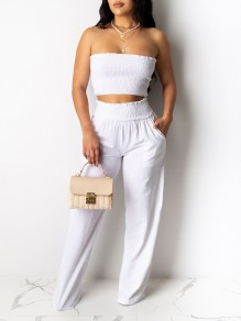 White Bandeau Pockets Two Piece High Waisted Wide Leg Palazzo Pant Long Jumpsuit