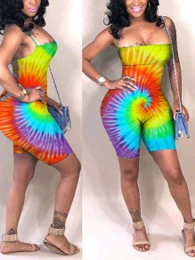 Yellow Sauce Tie Dyeing Spaghetti Strap Bodycon Bohemian Party High Waisted Short Jumpsuit