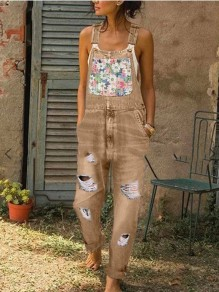 Tan Floral Pockets Cut Out Distressed Ripped Denim Overall Long Jumpsuit