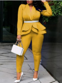 Yellow Cascading Ruffle Peplum V-neck Two Piece Elegant Party High Waisted Long Jumpsuit