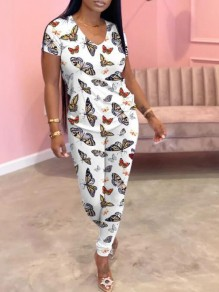 White Butterfly Pattern Deep V-neck Two Piece Casual Long Jumpsuit