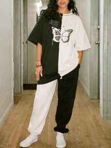 White-Black Patchwork Butterfly Pattern Half Sleeve Two Piece Casual Long Jumpsuit