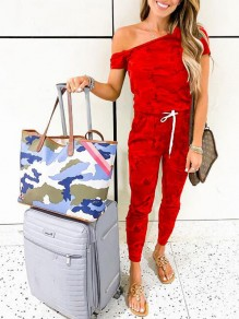Red Camouflage Pattern Drawstring One Shoulder Pockets One Piece Casual Long Jumpsuit