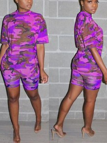 Purple Camouflage Pattern Half Sleeve Two Piece Casual Short Jumpsuit