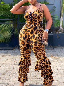 Leopard Print Spaghetti Strap Cascading Ruffle Backless Bodycon Plus Size Party High Waisted Long Bell Bottomed Flares Jumpsuit