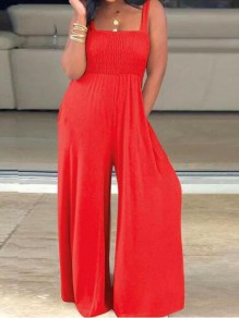 Red Pockets Draped Square Neck Plus Size Wide Leg Palazzo Overall Long Jumpsuit