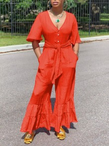 Red Cascading Ruffle Buttons Pockets Belt V-neck Party High Waisted Bell Bottomed Flares Long Jumpsuit