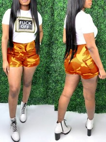 "Orange ""FUCK OFF"" Print Camouflage Two Piece High Waisted Casual Short Jumpsuit"