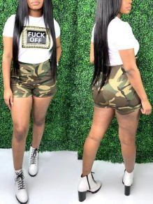 "Green ""FUCK OFF"" Print Camouflage Two Piece High Waisted Casual Short Jumpsuit"