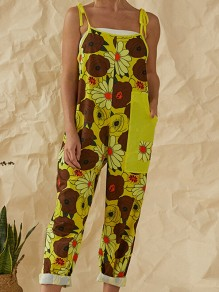 Yellow Flowers Print Pockets High Waisted Long Jumpsuit Overall Pants