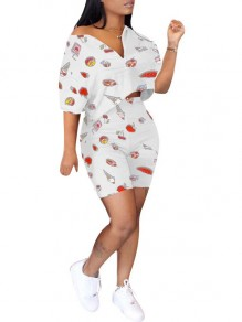 White Ice Cream Print V-neck Off Shoulder Elbow Sleeve Two Piece Short Jumpsuit