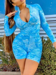 Blue Tie Dye Print Zipper Band Collar Long Sleeve Bodysuit Sports Short Jumpsuit