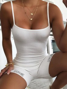 "White ""LUCKY LABEL"" Print Shoulder-Strap Square Neck Sleeveless Sports Yoga Workout Biker Bodysuit Short Jumpsuit"