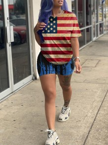 Blue American Flag Print Round Neck Short Sleeve Two Piece Independence Day Short Jumpsuit