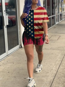 Red American Flag Print Round Neck Short Sleeve Two Piece Independence Day Short Jumpsuit