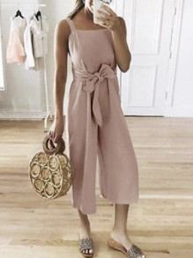 Pink Sashes Bow High Waisted Fashion Nine's Jumpsuit