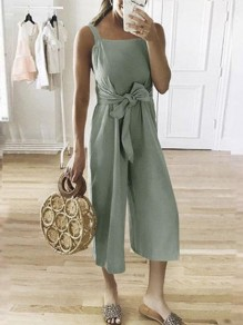 Green Sashes Bow High Waisted Fashion Nine's Jumpsuit