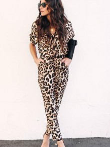 Brown Leopard V-neck Short Sleeve Casual Long Jumpsuit