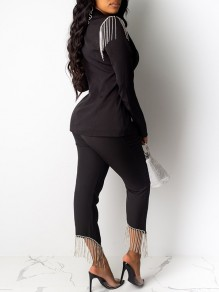 Black Patchwork Rhinestone Fringe Buttons Tailored Collar V-neck Blazer Suits Two Piece Glitter Sparkly Long Jumpsuit