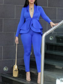 Blue Layers Of Ruffle Buttons Tailored Collar V-neck Peplum Blazer Suits Two Piece High Waisted Work Long Jumpsuit