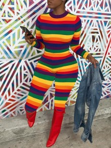 Rainbow Striped Print Round Neck Long Sleeve Bodysuit Long Jumpsuit