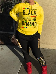 """Yellow Monogram """"BLACK BY POPULAR DEMAND"""" Print Hooded Long Sleeve Two Piece Casual Long Jumpsuit"""