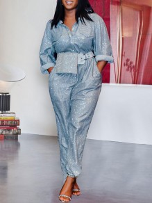 Silver Sequin Pockets Buttons Turndown Collar Long Sleeve Glitter Sparkly Cargo Long Jumpsuit