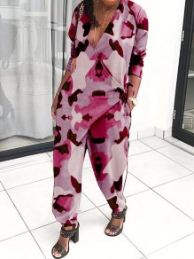 Pink Camouflage Print Lace-up V-neck Pockets Bloom Pants Casual Long Jumpsuit