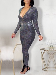 Silver Sequin V-neck Long Sleeve Glitter Sparkly Birthday Party Bodysuit Long Jumpsuit
