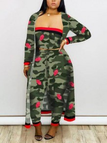 Army Green Camouflage Pattern Bandeau Off Shoulder There Piece Clubwear Long Jumpsuit