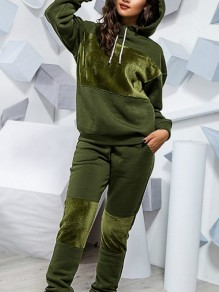 Green Patchwork Pockets Hooded Long Sleeve Fashion Long Jumpsuit