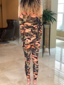 Orange Camouflage Print Buttons V-neck Long Sleeve Wihth Bum Flap Pajama Long Jumpsuit