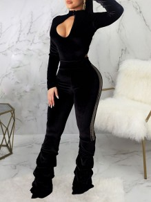Black Cut Out Buttons Band Collar V-neck Long Sleeve Bodysuit Scrunch Long Jumpsuit