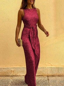 Red Sequin Belt Round Neck Sleeveless Wide Leg Palazzo Pants Work Long Jumpsuit