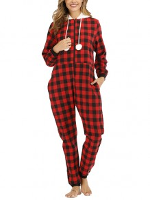 Red Black Patchwork Zipper Drawstring Pockets Buffalo Plaid Flannel Christmas Onesie Party Hooded Pajamas Jumpsuits