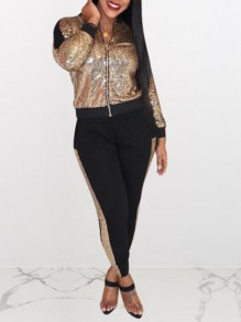Rose Gold Patchwork Sequin Two Piece Sparkly Glitter Banquet Party Long Jumpsuit