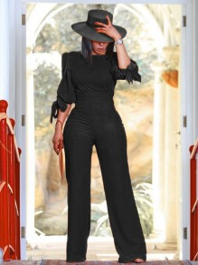 Black Round Neck Puff Elbow Sleeve High Waisted Wide Leg Palazzo Pants Work Long Jumpsuit