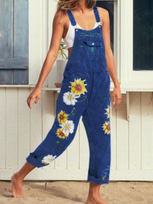 Blue Sunflower Print Pockets Shoulder-Strap Wide Leg Palazzo Pants Overall Casual Long Dungarees Jumpsuit