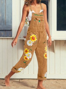 Khaki Sunflower Print Pockets Shoulder-Strap Wide Leg Palazzo Overall Casual Long Dungarees Jumpsuit