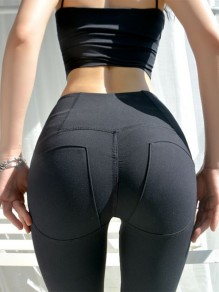 Black Skinny High Waisted Yoga Sports Push Up Five's Legging