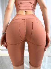 Brown Skinny High Waisted Yoga Sports Five's Legging