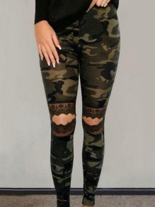Army Green Patchwork Lace Camouflage Pattern Cut Out High Waisted Long Legging