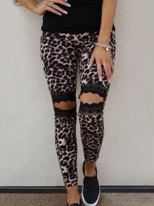 Brown Patchwork Lace Leopard Pattern Cut Out High Waisted Long Legging
