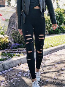Black Patchwork Cut Out Ripped Destroyed Sports Long Legging