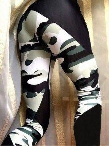 White Green Camouflage Print High Waisted Fashion Long Legging