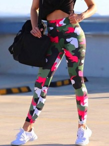 Red Floral Print High Waisted Push Up Sports Legging