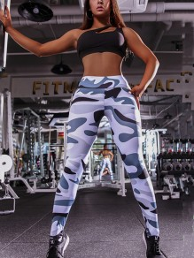 Grey Floral Print High Waisted Push Up Sports Legging