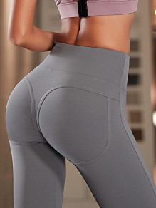 Grey Peach Hip High Waisted Stretch Yoga Sports Long Legging Jogging Pants