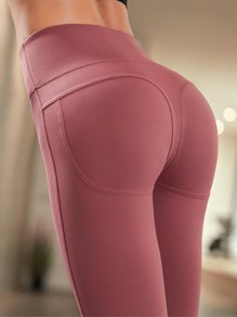 Red Peach Hip High Waisted Stretch Yoga Sports Long Legging Jogging Pants