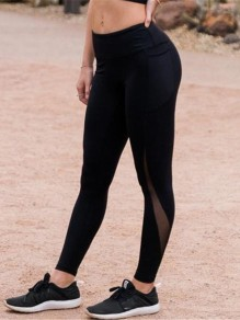 Black Patchwork Pockets Grenadine High Waisted Sports Long Legging